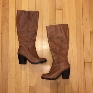 Trendy Brown Knee-high Heeled Boots